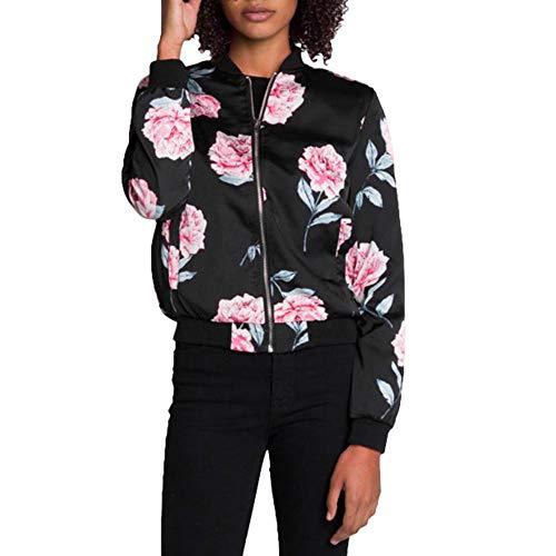 Jacket cou Blouson Bomber À Veste Qzhe Automne D'aviateur O Casual Longues Print Floral Noir Manches IwXPxX