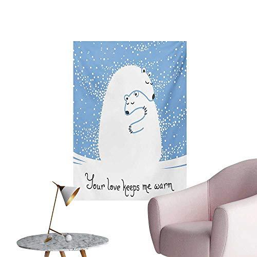 ParadiseDecor Animal Wallpaper Mother Polar Bear Hugging Her