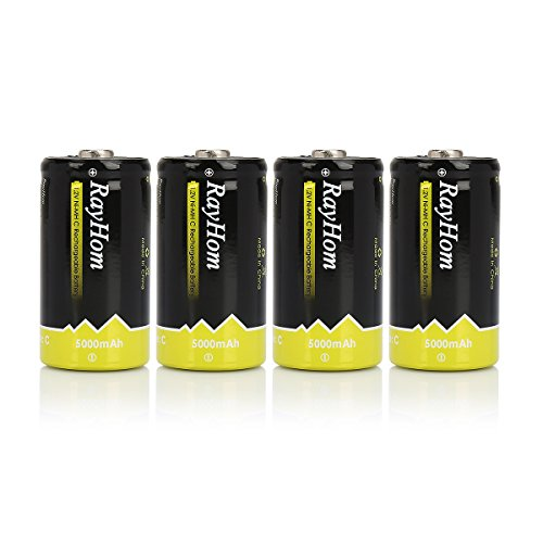 RayHom C Rechargeable Battery 5000mAh Ni-MH High Capacity Battery (4 Pack)