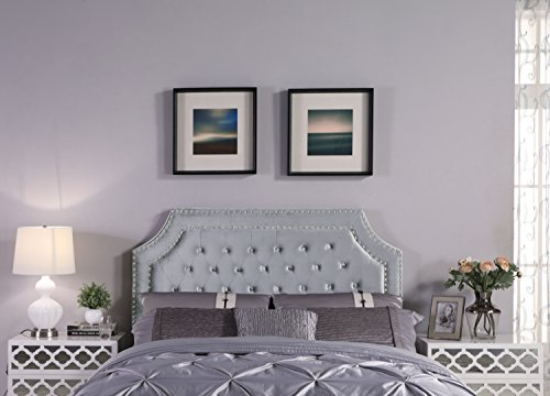 Iconic Home FHB9021-AN Chava Headboard Velvet Upholstered Button Tufted Double Row Silver Nailhead Trim Modern Transitional Full, Queen, ()
