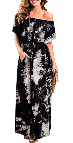 MIDOSOO Womens Off The Shoulder Ruffled Pockets Strapless Side Split Maxi Diner Dresses #2Black L
