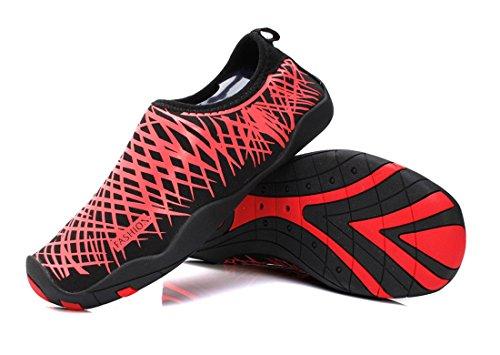 Smapavic Wasser Schuhe Für Frauen Männer Aqua Socken Barfuß Quick Dry Leichte Strand Schwimmen Schuhe rot