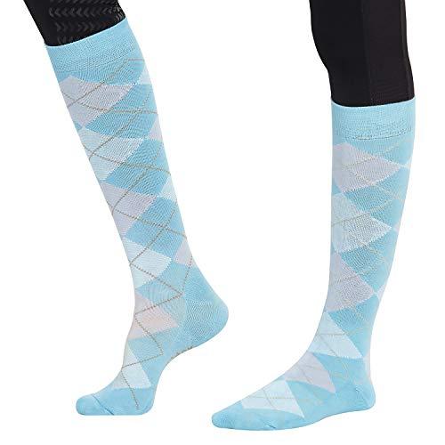 TuffRider Ecogreen Bamboo Argyle Socks, Blue/Pink -
