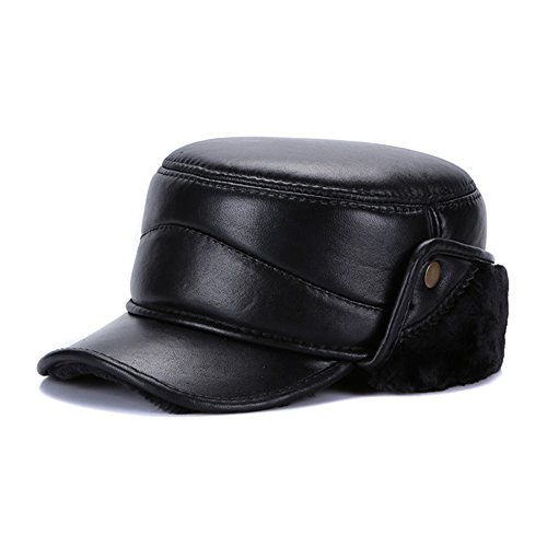 Sandy Ting Men Winter Leather Solid Hat With Fold-Down Ear Flaps (Fold Down Earflaps)