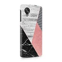 Black Marble & Rose Gold & Grey Wood Plank Blocks Hard Plastic Phone Case For LG Google Nexus 5