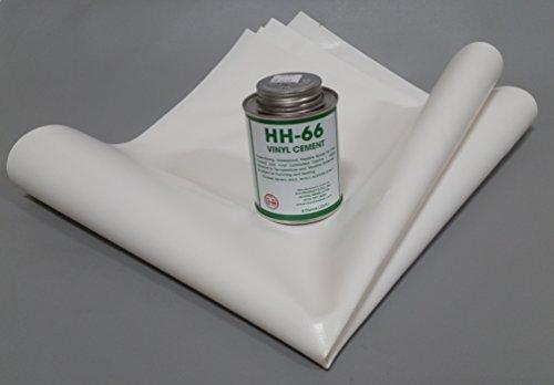 (Tarp Repair Kit: 2'x2' 18oz Vinyl Patch and HH-66 Vinyl Cement (White))