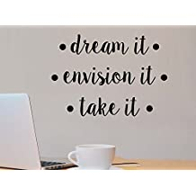 Dream it envision it take it motivational fitness quote wall decal sticker nursery vinyl saying lettering wall art inspirational sign wall decor
