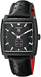 TAG Heuer Men's WW2119.FC6338 Monaco Black Stainless Steel Watch with Leather Band