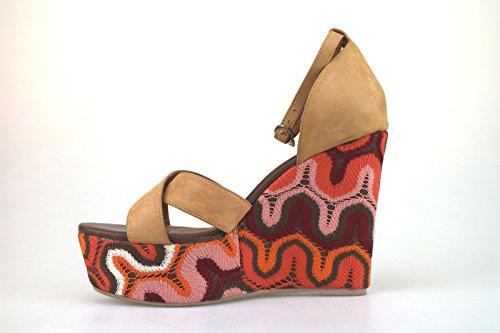 Zapatos mujer JEFFREY CAMPBELL Sandalias cuñas beige cuero Textil AH457