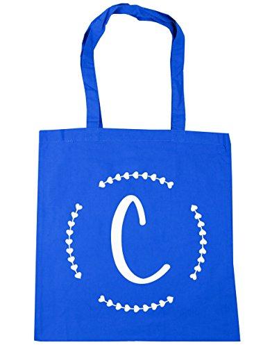 HippoWarehouse C inicial Tote Compras Bolsa de playa 42cm x38cm, 10litros, negro (negro) - 13545-TOTE-Black Cornflower Blue