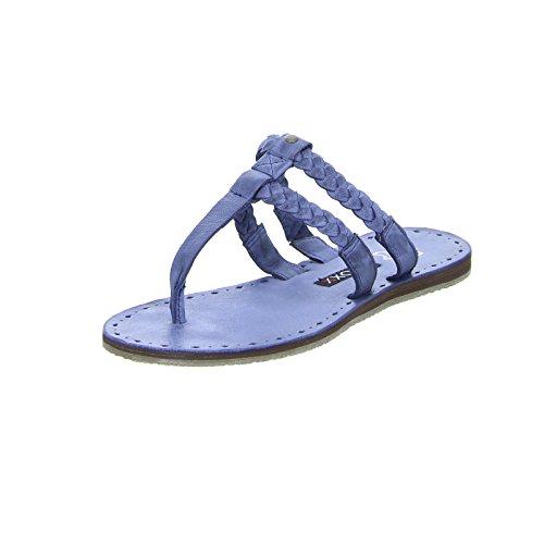 Boxx 71,271 Mulheres Sandália Flip-flop, Toe Trenner Deslizamento De Couro Real Bohostil Azul (azteco 202)