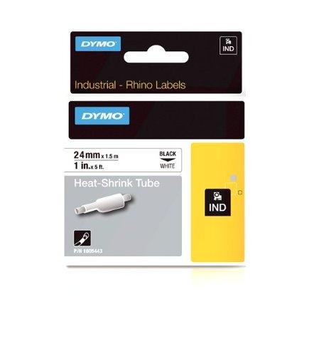 Rhinopro White Heat Shrink Tube - DYMO Industrial Heat Shrink Tubes for DYMO Industrial RhinoPro Label Makers, Black on White, 1