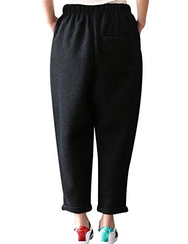 Noir Femmes Élastique Pantalon Youlee En Laine Hiver Automne Taille pgww8Oq