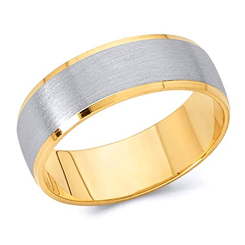 (Wellingsale 14k Two 2 Tone White and Yellow Gold Polished Satin 6MM Beveled Edge Classic Fit Wedding Band Ring - Size 5)