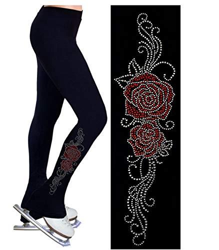 M Pantalon D'entraîneHommest De Patinage Artistique avec Toison Fleur Rose Rouge - Collants Legging De Patinage Résistant Au Vent Et à l'abrasion, Noir