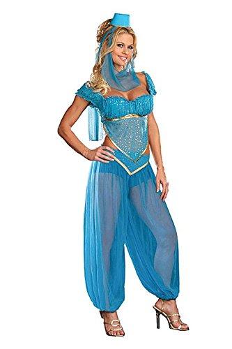 Belly Dancer Genie Princess Jasmine Aladdin Arabian Nights Fancy Dress Costume (donna  14, blu)