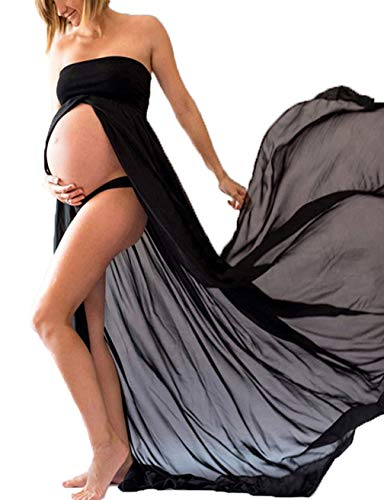 JustVH Maternity Chiffon Off Shoulder Gown Front Split Maxi Photoshoot Photography Dress ()