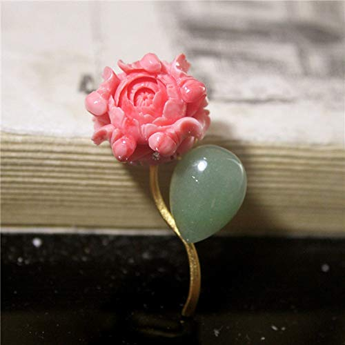 THTHT Brooch Pendant Dual-Use Shell Flower Women's Accessories Pink Peony Drop Shaped Jade Handmade Corsage Vintage Exquisite High-End Jewelry Luxury