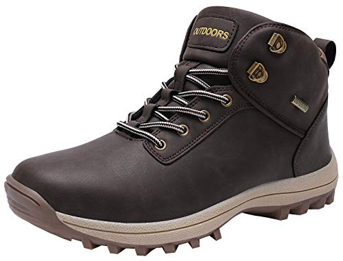 Caitin Men's Insulated Cold-Weather Boots Durable Hiking Boots Brown