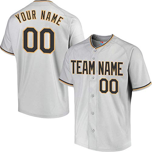 (Pullonsy College Gray Youth Customized Baseball Jersey Replica Embroidery Your Name & Numbers,Black-Gold Size M)