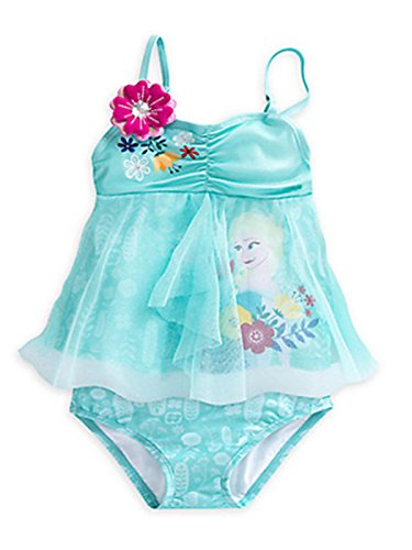 Wengift Little and Big Girls' Frozen Princess 2-piece Blue Tankini Swimwear