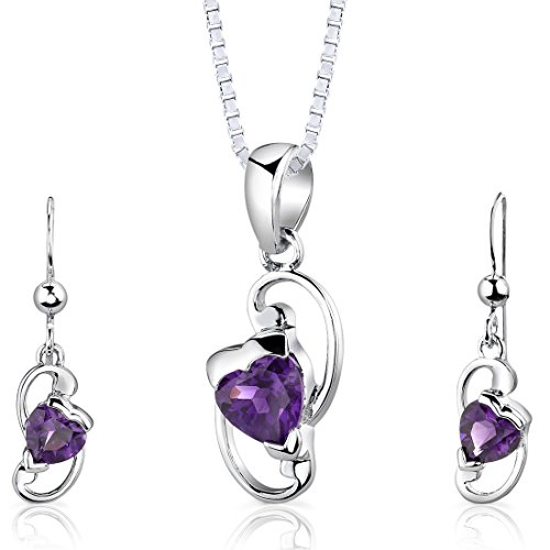 Amethyst Pendant Earrings Set (Amethyst Pendant Earrings Set Sterling Silver Rhodium Nickel Finish Heart Shape 1.75 Carats)