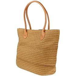Homyl Bolso de Playa de Mujer Tejida de Paja Artesanal Bolsa de Hombro intaje para Picnic Playa Verano Elegante - Caqui, como se describe