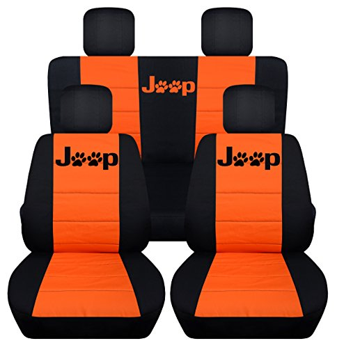 Designcovers Fits 2013 to 2018 Jeep Wrangler 4 Door JK Paw Print Seat Covers 21 Color Options (Black and Orange)