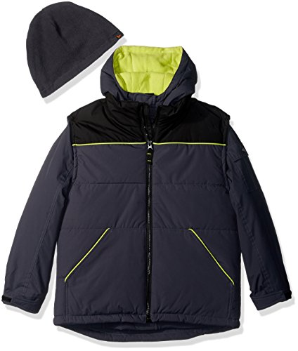 Hawke & Co. Boys' Big Systems 3 in 1 Jacket with Outer Vest, Sharkskin, 8
