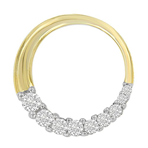 14KT Yellow Gold Round Cut Diamond Circle Pendant Necklace (1/4 cttw, J-K Color, I1-I2 (14kt Gold Diamond Name Pendant)
