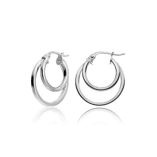 Hoops & Loops Sterling Silver Double Circle Round-Tube Polished Hoop Earrings, 15mm