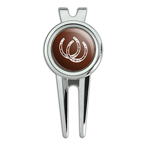 Double Cowgirl - Horseshoe Lucky Double Cowboy Brown Golf Divot Repair Tool and Ball Marker