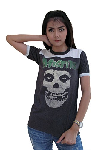 Bunny Brand Women's Misfits Distressed Skull Ringer T-Shirt Jersey Thin Soft New - Bag Noten Mens Van Dries