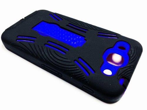 For LG Optimus G Pro E980 Kickstand Hybrid Hard Phone Cover Case - Black / Blue + Happy Face Phone Dust Plug