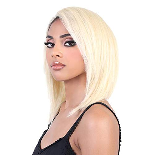 Double Beauty #613 Blonde 100% Virgin Brazilian Human Hair Lace Front Wig Short Bob Straight Wigs Hand Tied, Prepluckted Hairline Middle Part Shoulder Length Hair Wigs for Woman (14inch-blonde-N) -