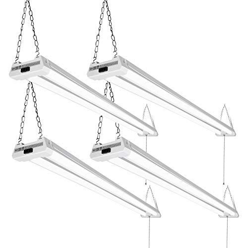 LEONLITE 4 Pack 4ft 48 Inch LED Utility Shop Light 40W, 5000K Daylight, 4100 Lumens, Double Integrated Linkable Garage Ceiling Fixture, Frosted Lens - Energy Star & ETL Listed