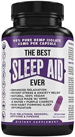 The Best Sleep Aid Ever Vegan All Natural Sleeping Pills Stress Anxiety & Insomnia Relief 750mg Pure Organic Hemp Extract Melatonin Lepticore Sensoril & More Purple Carrot Plant Based Veggie Caps (30)