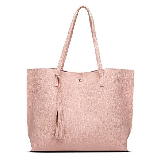 Mosunx(TM) Women Girls Tassels Leather Bag Shopping Handbag Shoulder Tote Bag (Pink)