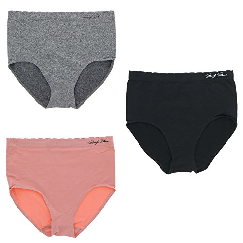 ates Women's Microfiber Seamless Hi-Rise Brief Underwear Panties, (3Pr) (X-Large, Black, Grey, Rose Pink) (Hi Rise Brief)
