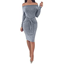 Moginp Sexy Ladies Winter Bodycon Off The Shoulder Dress Women Long Sleeve Evening Party Mini Dresses