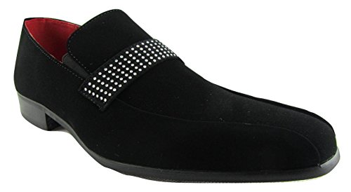 Rossellini Rimini Mens Moccasin Shoes Black Nubuck Leather Lined Heel Loafer 46 6RQm5Vtmkr