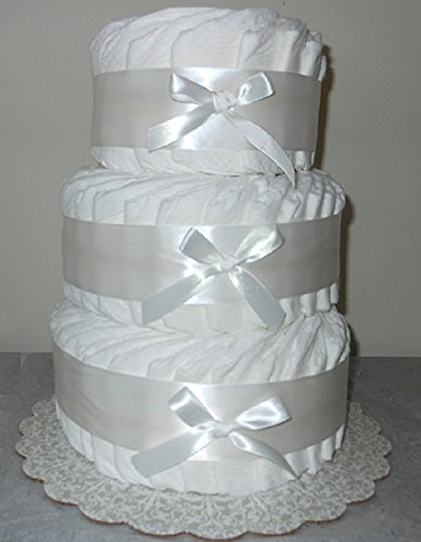 Decorate It Yourself 3 Tier Plain Diaper Cake 75 Diapers (Wide Diaper Cake)
