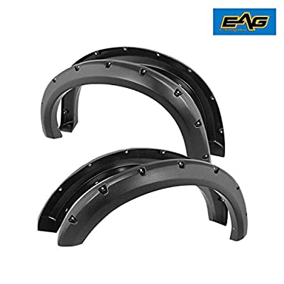 EAG Front and Rear Fender Flares 4pcs Textured Black Pocket Rivet Style Fit for 11-16 Ford Super Duty F250/F350: Automotive