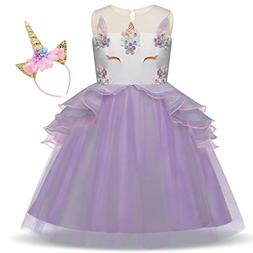 Girls Unicorn Dress up Fancy Costume Pageant Party Dresses with Unicorn Headband ()