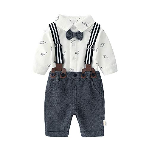 (Newborn Baby Boys Long Sleeve Onesie+ Bib Overalls + Suspenders+Bowtie Clothing Set, Toddler Infant Gentleman Pants Outfit Black)