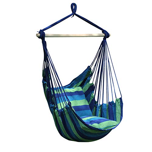 Lelly Q Hammock Chair Hanging Swing Chair Seat for The Living Room,Yard,Garden, Balcony - Max. 265 Lbs -2 Seat Cushions Included (Blue - Blue Room Garden