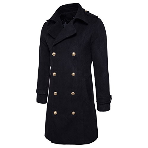 YUNCLOS Men's Trench Coat Long Wool Blend Slim Fit Jacket Winter Double Breasted Overcoat
