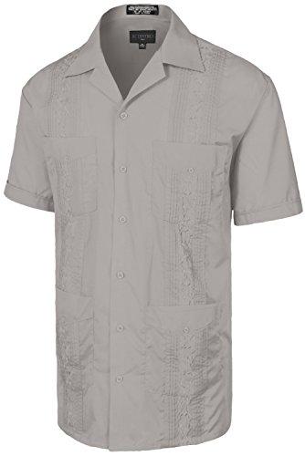 Men's Premium Classic Embroidered Guayabera Short Sleeve LIGHTGREY Shirt 2XL
