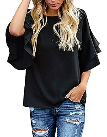 36202cfeaf0d5 luvamia Women's Casual 3/4 Tiered Bell Sleeve Crewneck Loose Tops Blouses  Shirt
