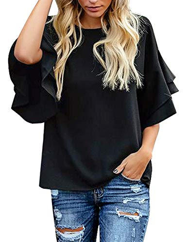 Ruffle Shirt Sleeve - luvamia Women's Black Casual 3/4 Tiered Bell Sleeve Crewneck Loose Tops Blouses Shirt Size XXL